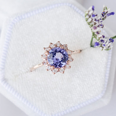 Tanzanite Halo Ring with Sapphire in 14K Rose Gold - THR4R24