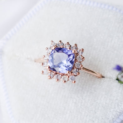 Tanzanite Halo Ring with Sapphire in 14K Rose Gold - THR4R26