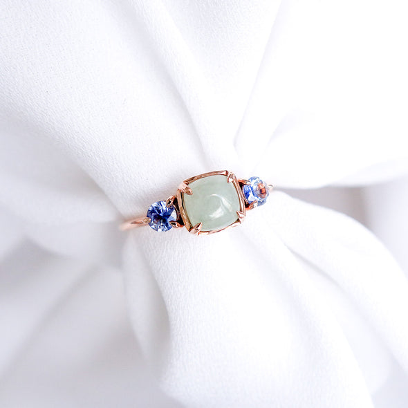 Trio Ring with Jade and Sapphire in 14K Rose Gold