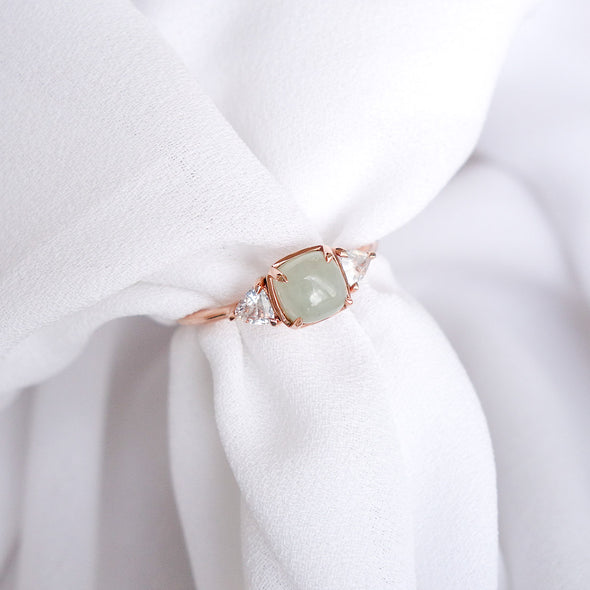 Royal Jade Ring with Sapphire in 14K Rose Gold