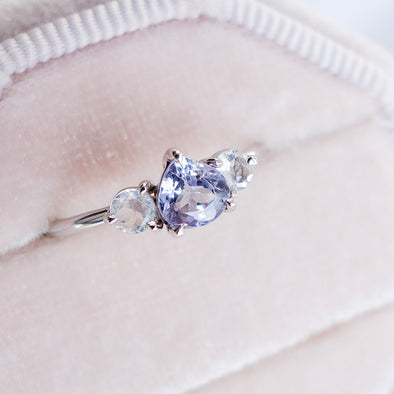 Trio Tanzanite and Moonstone Ring in 14K White Gold - TR4W01