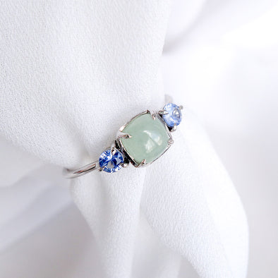 Trio Ring with Jade and Sapphire in 14K White Gold