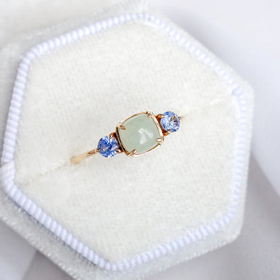 Trio Ring with Jade and Sapphire in 14K Yellow Gold - TR4Y32
