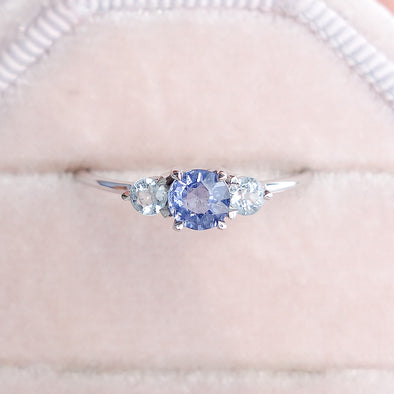 Trio Ring with Sapphire in 14K White Gold