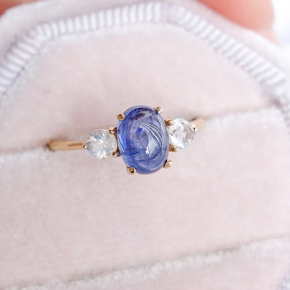 Royal Sapphire Ring with Moonstones in 14K Yellow Gold - TRSM3Y16