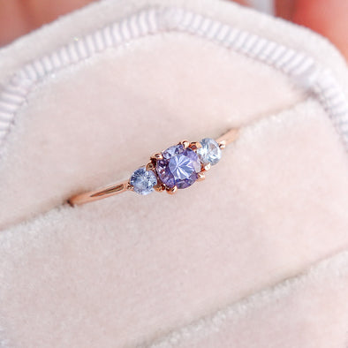 Trio Ring with Tanzanite and Sapphire in 14K Rose Gold