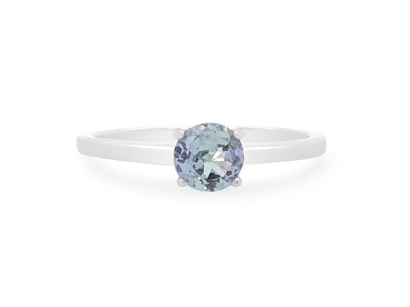Tanzanite Solitaire Ring in 14K White Gold TSR0W6