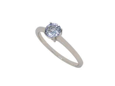 Tanzanite Solitaire Ring in 14K White Gold TSR0W8