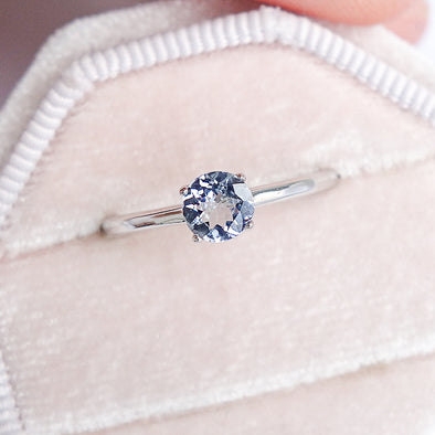 Tanzanite Solitaire Ring - 14K White Gold TSR0W8