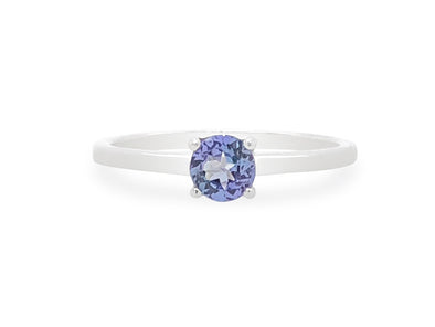 Tanzanite Solitaire Ring in 14K White Gold TSR0W9