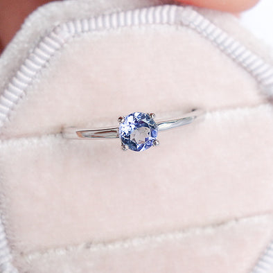 Tanzanite Solitaire Ring - 14K White Gold TSR0W9