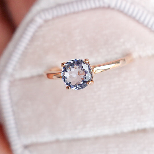Tanzanite Solitaire Ring - 14K Rose Gold TSR3R2