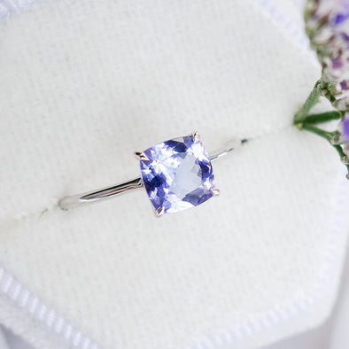Tanzanite Solitaire Ring 14K White Gold - TSR4W04