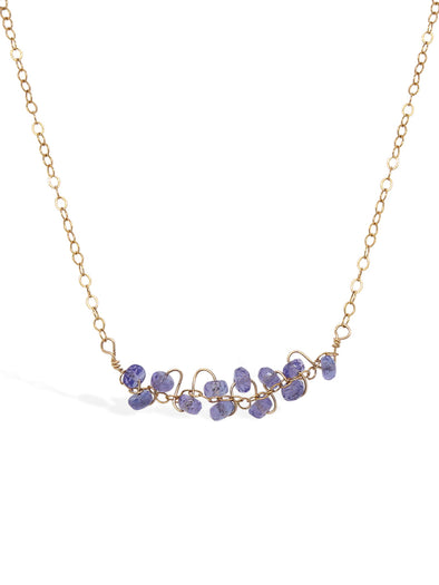 Tanzanite Vine Bar Necklace - Delicate Chain