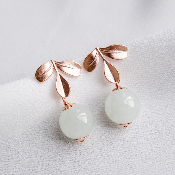 Light Mint Jade with Petite Three Leaf Ear Studs