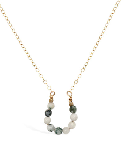 Lucky Horseshoe Necklace - Tree Agate