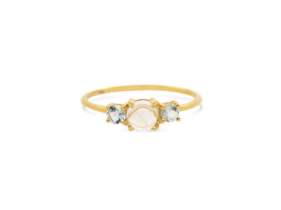 Trio Ring with Moonstone and Aquamarine - 14K Yellow Gold