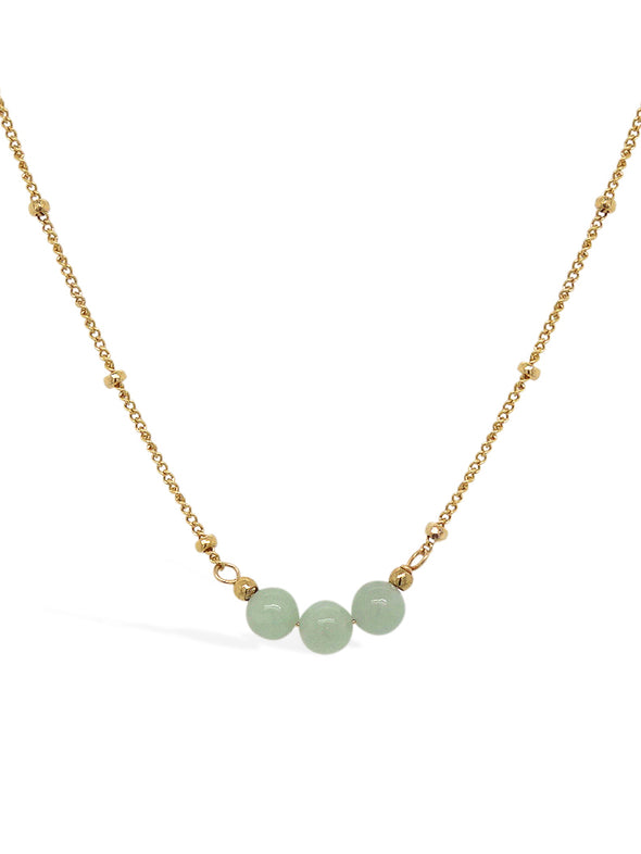Triple Jade Necklace - Ball Chain
