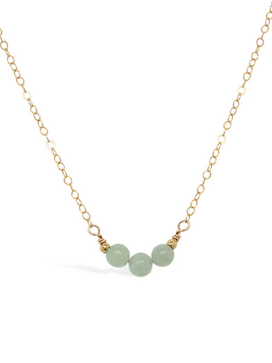 Triple Jade Necklace - Delicate Chain