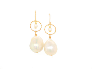 Twisted Circle Baroque Pearl Hook Earrings