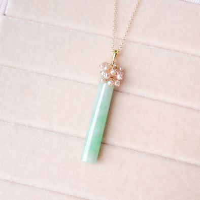 Sleek Jade with Pearl Cluster Necklace - UJ112