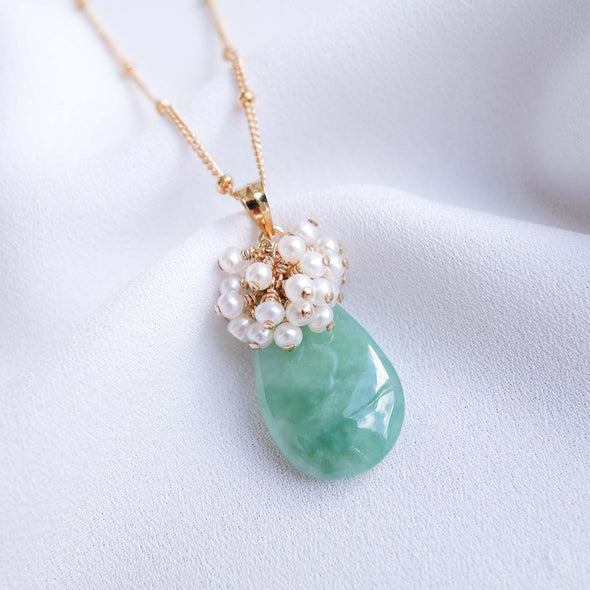 Teardrop Unique Jade Necklace with Pearl Cluster - UJJN5