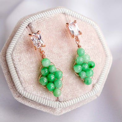 Woven Green Jade with Baguette Ear Studs