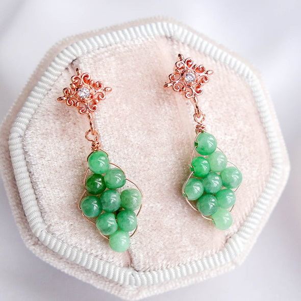 Woven Green Jade with Intricate Ear Studs