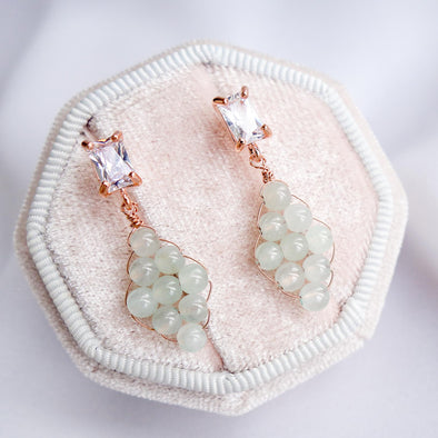 Woven Grey Jade with Baguette Ear Studs