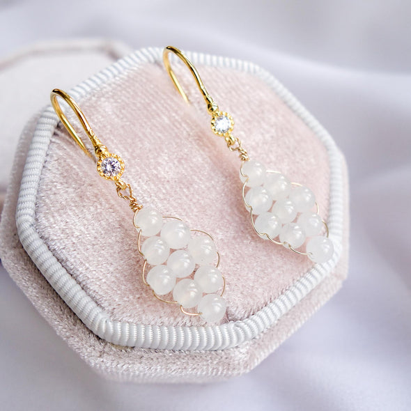 Woven White Jade with CZ Hook Earrings