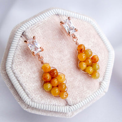 Woven Yellow Jade with Baguette Ear Studs