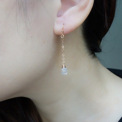 Dangling Rose Quartz Gem Drop Earrings