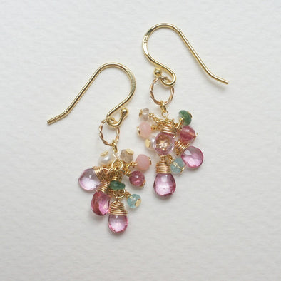 Pink Topaz Gem Cluster Earrings