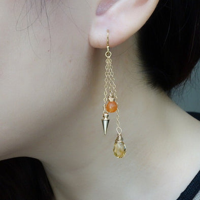 Dangling Spunky Citrine Cluster Earrings