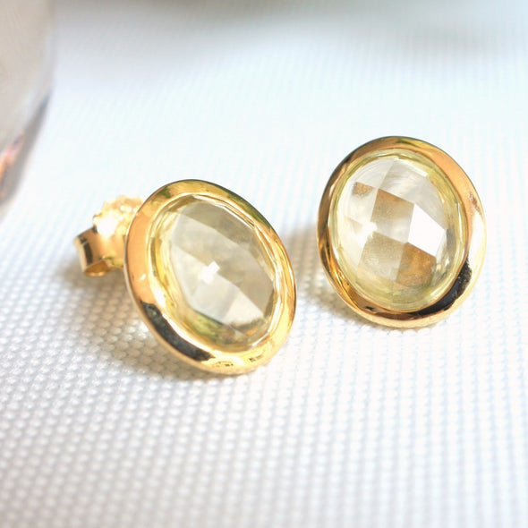 Oval Lemon Quartz Gold Ear Studs