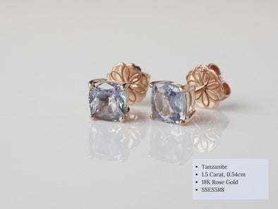Square Tanzanite Ear Studs in 18K Rose Gold SSES5R8