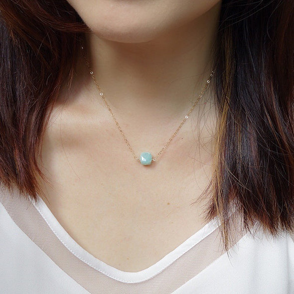 Floating Cube Gem Necklace