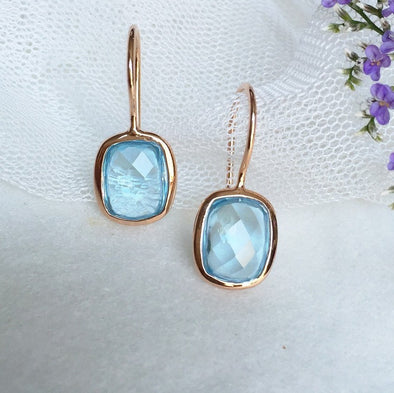 Sky Blue Topaz Rose Gold Hook Earrings