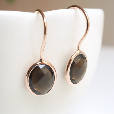 Oval Smoky Quartz Rose Gold Hook Earrings