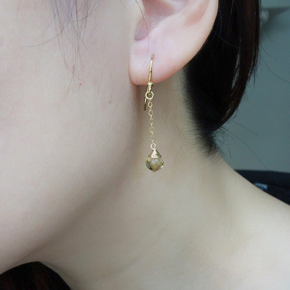 Dangling Honey Topaz Gem Drop Earrings