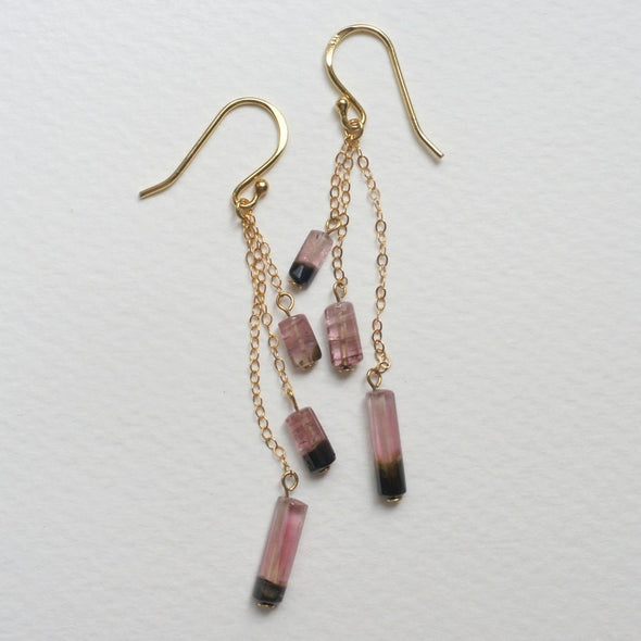 Dangling Tourmaline Cluster Earrings
