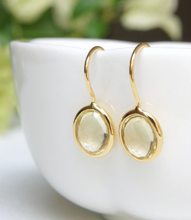 Lemon Quartz Gold Hook Earrings