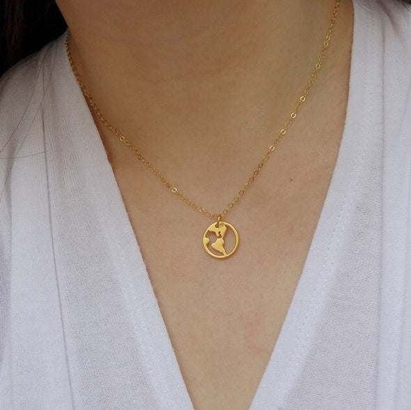 Globetrotter Necklace in Gold or Sterling Silver