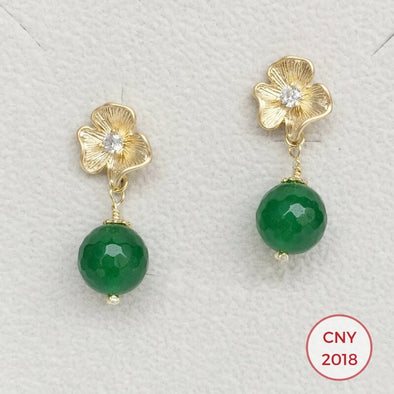 Ruffled Flower Ear Studs with Green Onyx - G