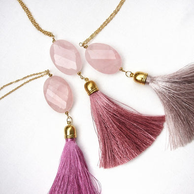 Rose Quartz Gemstone Tassel Necklace