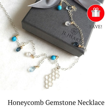 Silver Honeycomb Gemstone Necklace