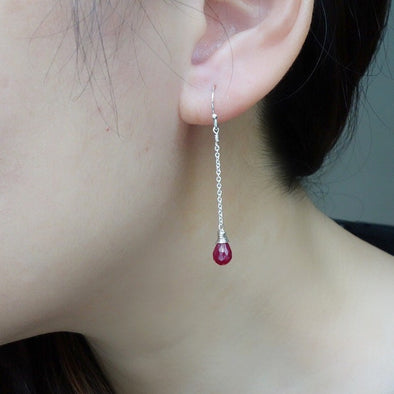 Dangling Ruby Gem Drop Earrings