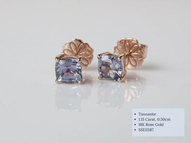Square Tanzanite Ear Studs in 18K Rose Gold RSES5R7