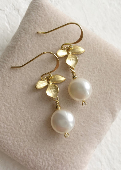 Three Petal Hook Earrings with Freshwater Pearl
