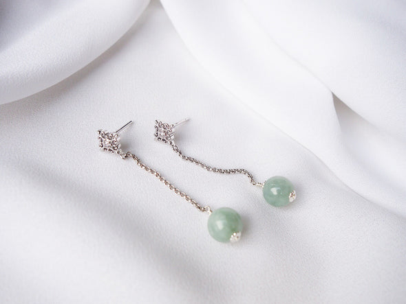 Intricate Stud and Dangling Jade Earrings